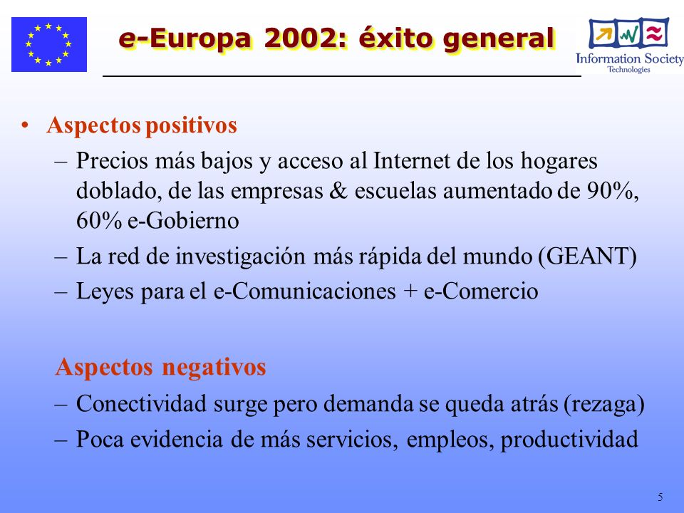 5 e-Europa 2002: éxito general Aspectos positivos –Precios más bajos y acceso al Internet de los hogares doblado, de las empresas & escuelas aumentado