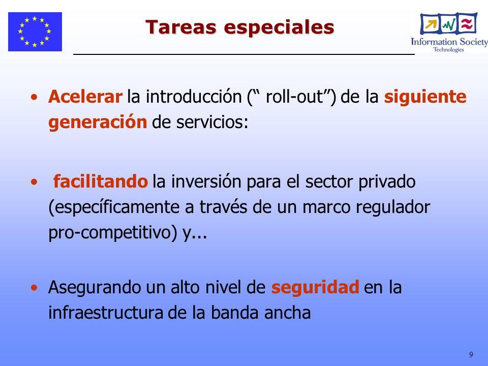 9 Tareas especiales Acelerar la introducción ( roll-out) de la siguiente generación de servicios: facilitando la inversión para el sector privado (esp