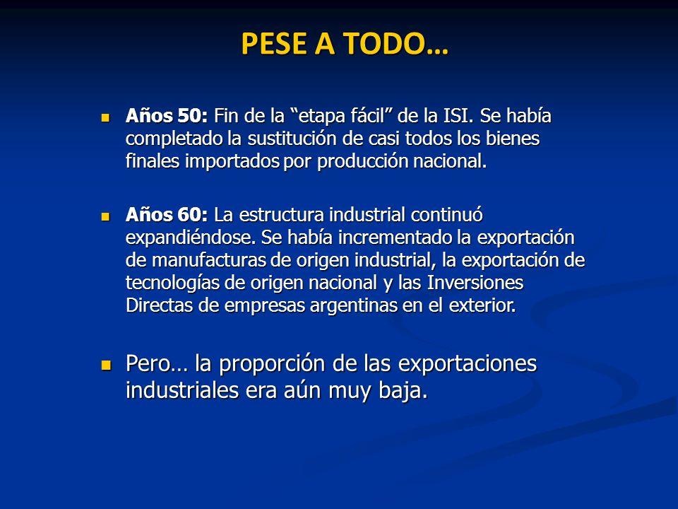 PESE A TODO… Años 50: Fin de la etapa fácil de la ISI. Se había completado la sustitución de casi todos los bienes finales importados por producción n