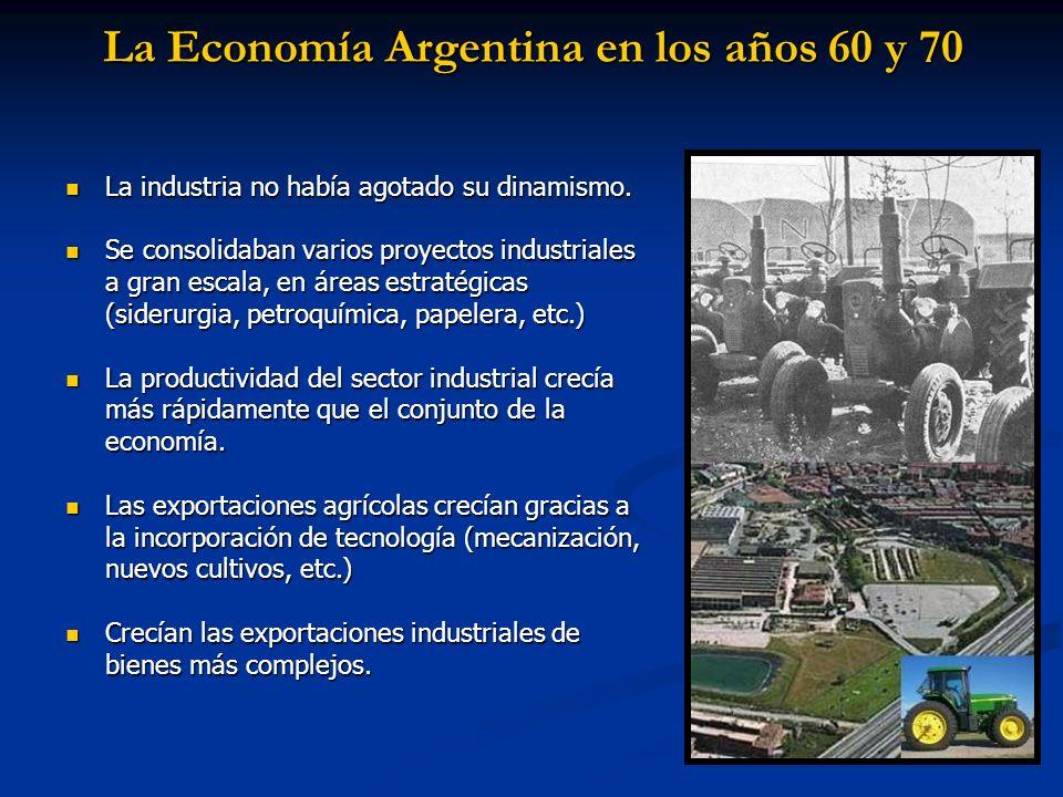 La Economía Argentina en los años 60 y 70 La industria no había agotado su dinamismo. La industria no había agotado su dinamismo. Se consolidaban vari