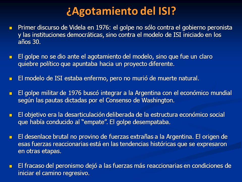 ¿Agotamiento del ISI? Primer discurso de Videla en 1976: el golpe no sólo contra el gobierno peronista y las instituciones democráticas, sino contra e