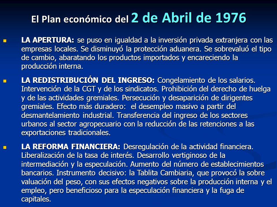 El Plan económico del 2 de Abril de 1976 LA APERTURA: se puso en igualdad a la inversión privada extranjera con las empresas locales. Se disminuyó la