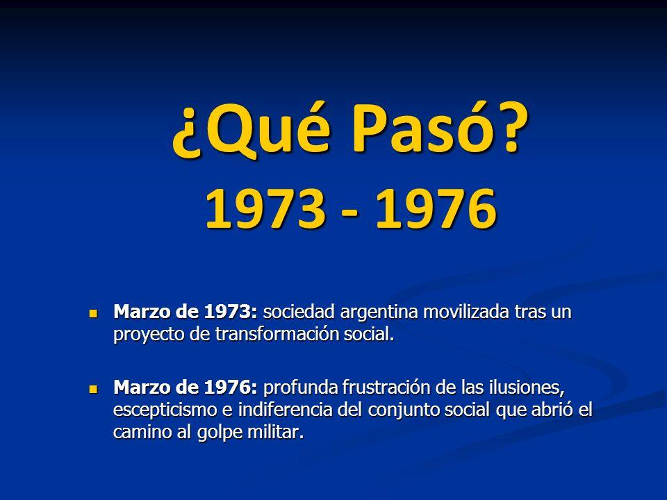 ¿Qué Pasó? 1973 - 1976 Marzo de 1973: sociedad argentina movilizada tras un proyecto de transformación social. Marzo de 1973: sociedad argentina movil