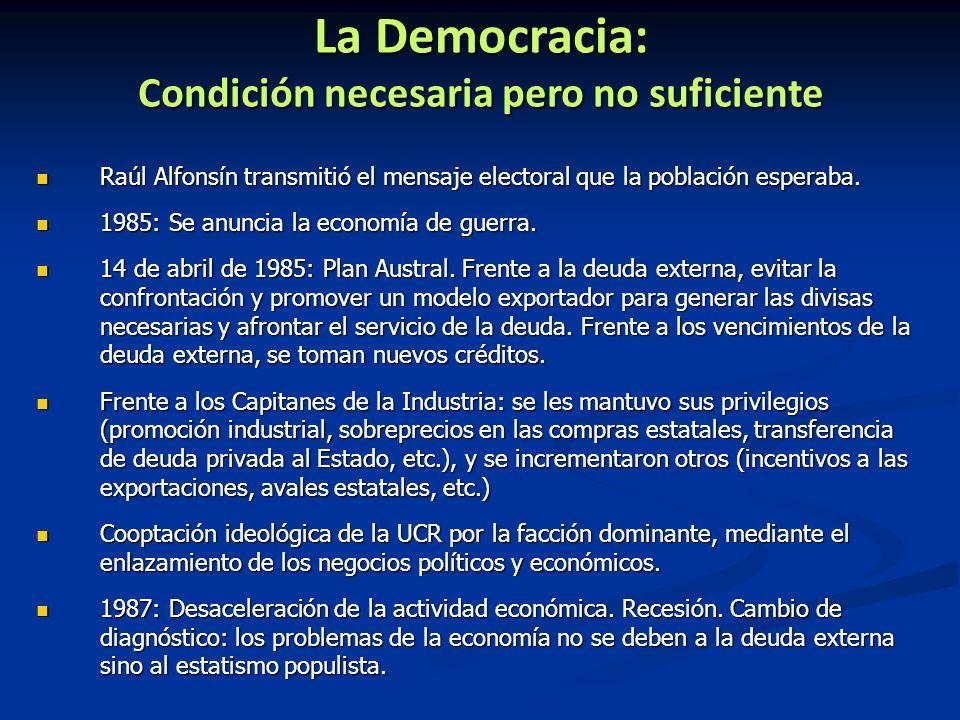 La Democracia: Condición necesaria pero no suficiente Raúl Alfonsín transmitió el mensaje electoral que la población esperaba. Raúl Alfonsín transmiti