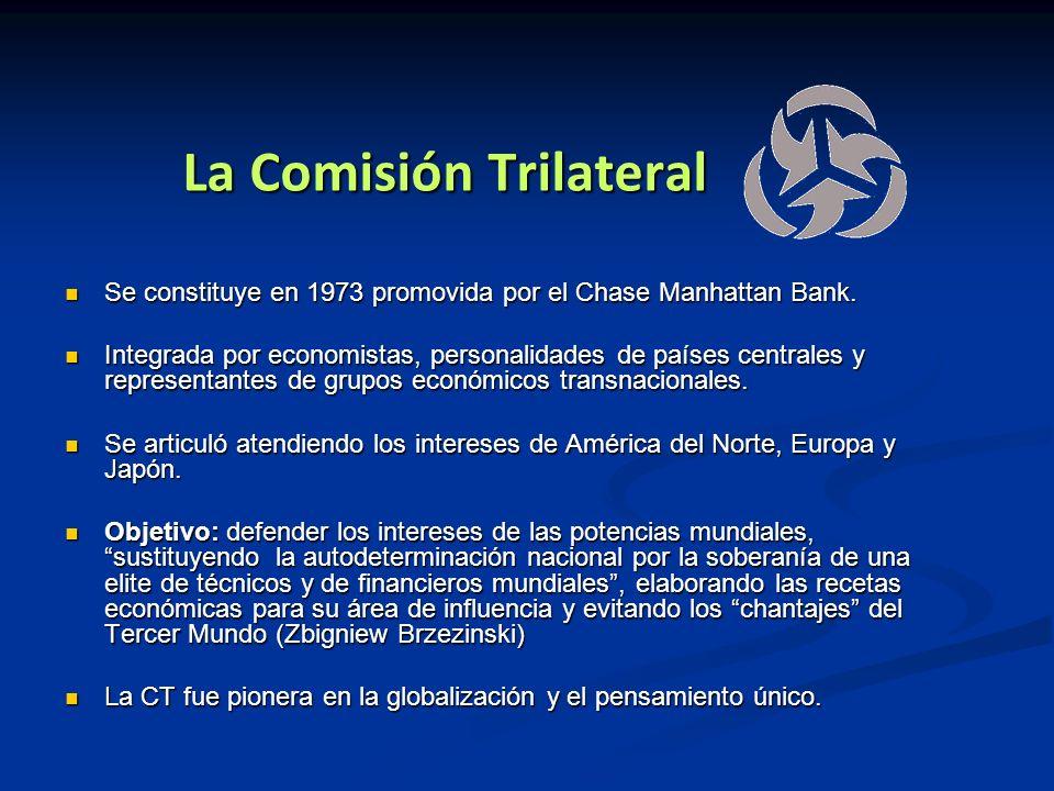 La Comisión Trilateral Se constituye en 1973 promovida por el Chase Manhattan Bank. Se constituye en 1973 promovida por el Chase Manhattan Bank. Integ