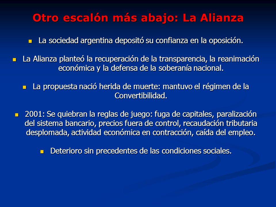 Otro escalón más abajo: La Alianza La sociedad argentina depositó su confianza en la oposición. La sociedad argentina depositó su confianza en la opos