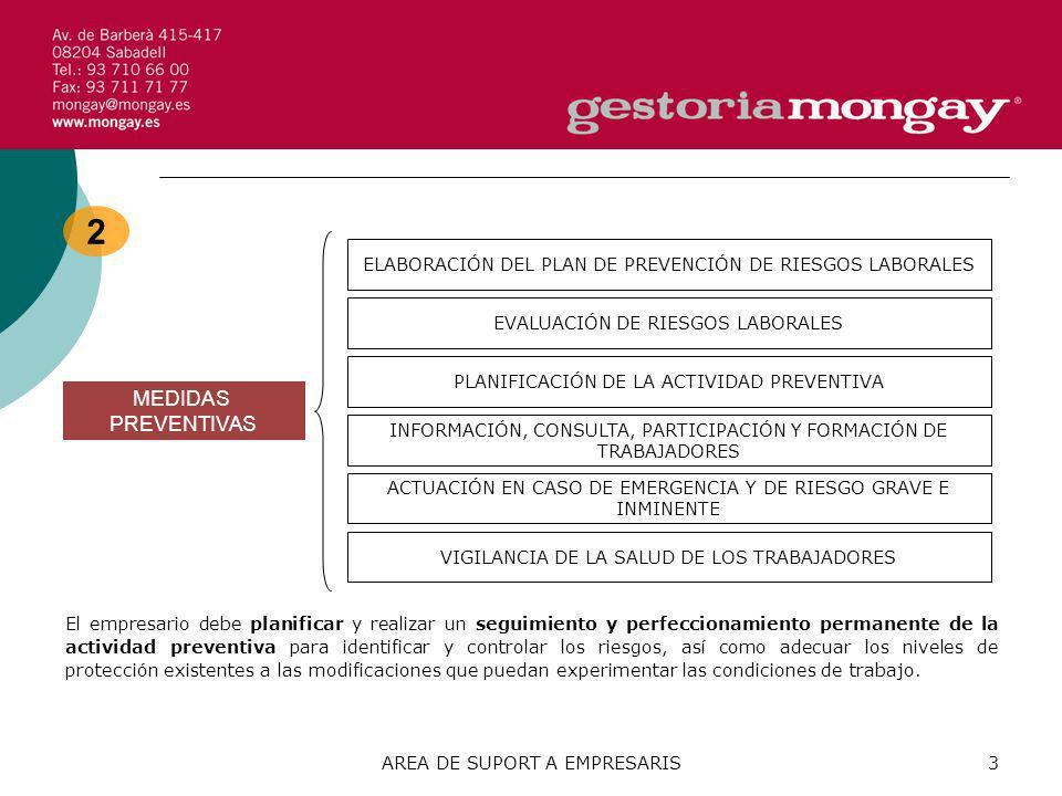 AREA DE SUPORT A EMPRESARIS4 3 PRINCIPIOS DE LA ACCIÓN PREVENTIVA - Prevención de riesgos.