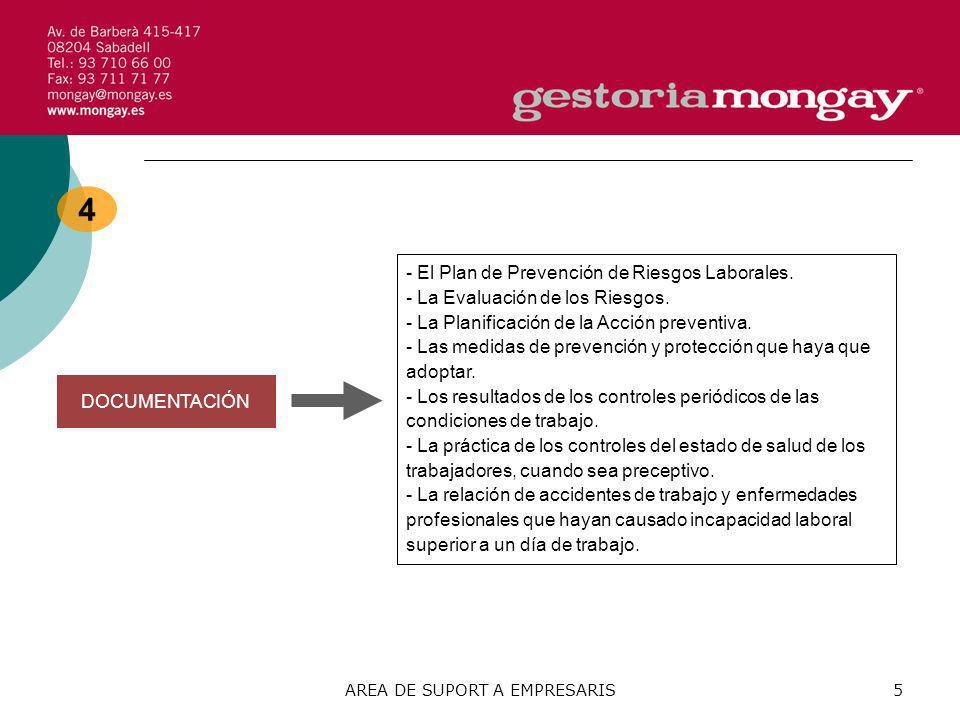 AREA DE SUPORT A EMPRESARIS5 4 DOCUMENTACIÓN - El Plan de Prevención de Riesgos Laborales. - La Evaluación de los Riesgos. - La Planificación de la Ac
