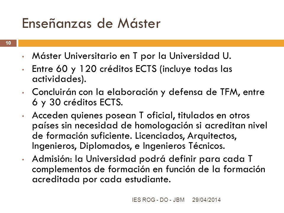 Enseñanzas de Máster Máster Universitario en T por la Universidad U. Entre 60 y 120 créditos ECTS (incluye todas las actividades). Concluirán con la e