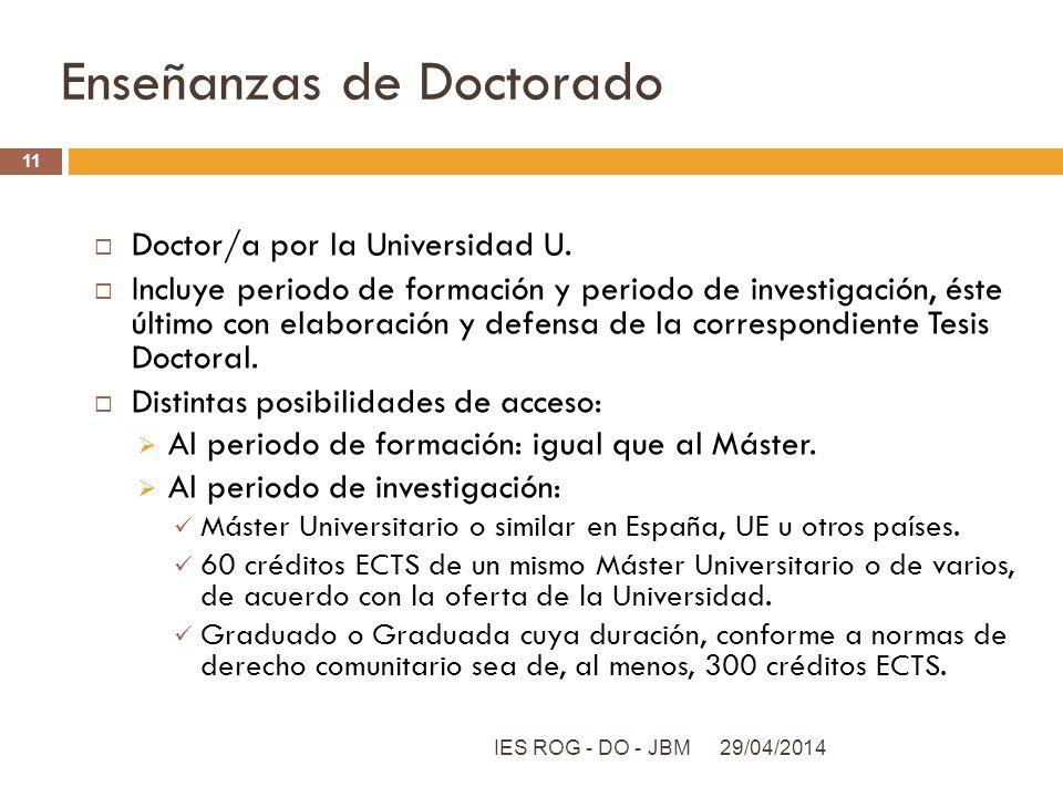 Enseñanzas de Doctorado Doctor/a por la Universidad U. Incluye periodo de formación y periodo de investigación, éste último con elaboración y defensa