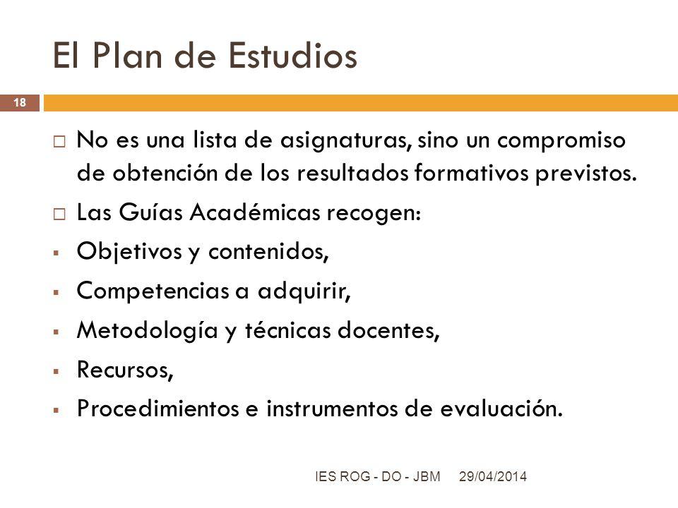 El Plan de Estudios No es una lista de asignaturas, sino un compromiso de obtención de los resultados formativos previstos. Las Guías Académicas recog