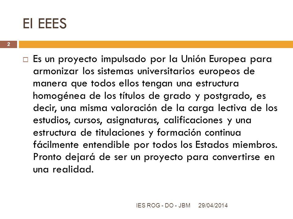 El EEES Es un proyecto impulsado por la Unión Europea para armonizar los sistemas universitarios europeos de manera que todos ellos tengan una estruct