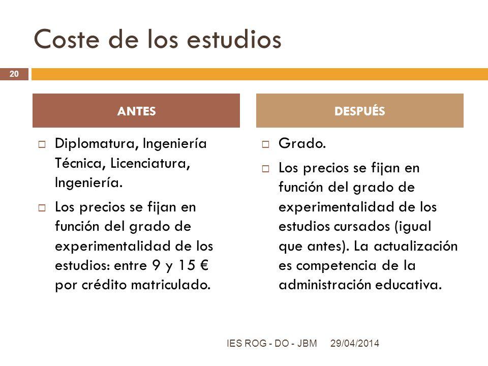 Coste de los estudios Diplomatura, Ingeniería Técnica, Licenciatura, Ingeniería. Los precios se fijan en función del grado de experimentalidad de los