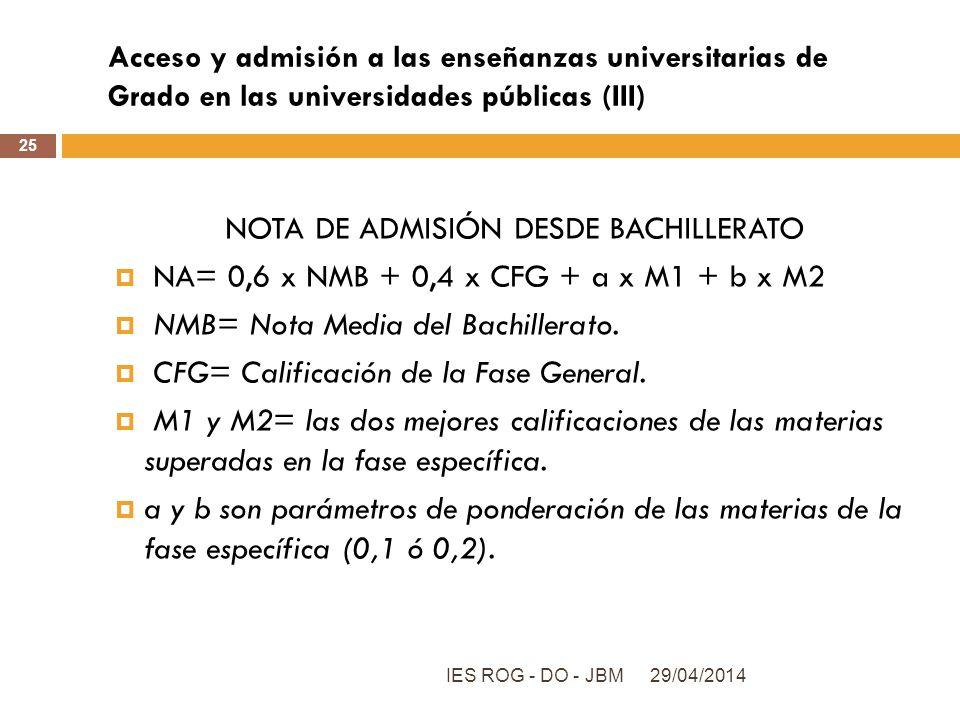Acceso y admisión a las enseñanzas universitarias de Grado en las universidades públicas (III) 29/04/2014IES ROG - DO - JBM 25 NOTA DE ADMISIÓN DESDE