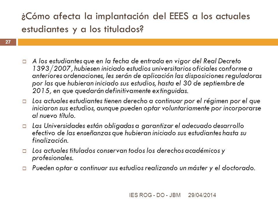 ¿Cómo afecta la implantación del EEES a los actuales estudiantes y a los titulados? A los estudiantes que en la fecha de entrada en vigor del Real Dec