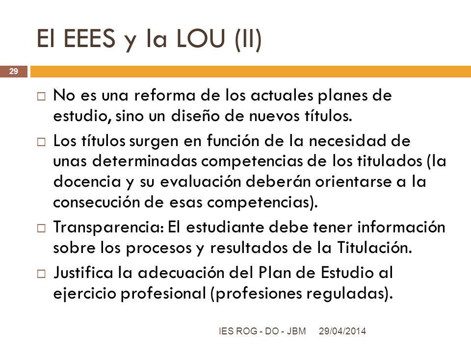 El EEES y la LOU (II) No es una reforma de los actuales planes de estudio, sino un diseño de nuevos títulos. Los títulos surgen en función de la neces