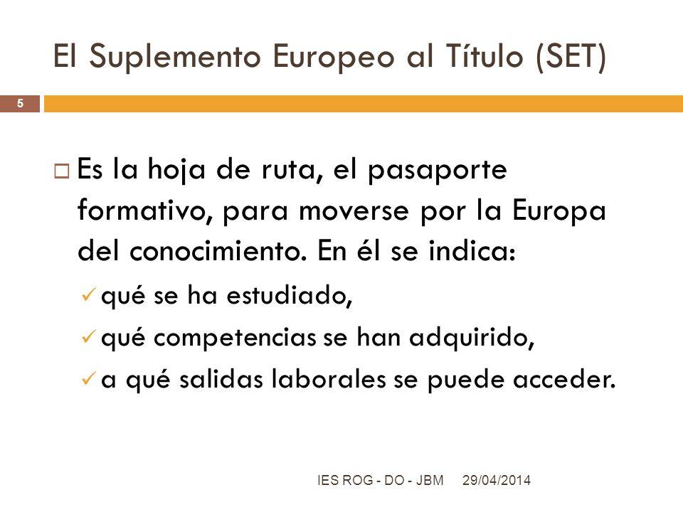 El Suplemento Europeo al Título (SET) Es la hoja de ruta, el pasaporte formativo, para moverse por la Europa del conocimiento. En él se indica: qué se