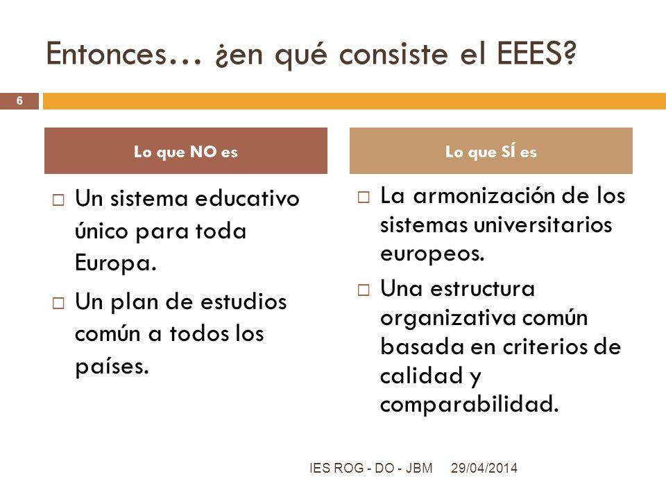Entonces… ¿en qué consiste el EEES? Un sistema educativo único para toda Europa. Un plan de estudios común a todos los países. La armonización de los