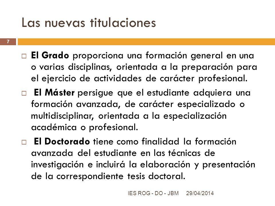 Las nuevas titulaciones El Grado proporciona una formación general en una o varias disciplinas, orientada a la preparación para el ejercicio de activi