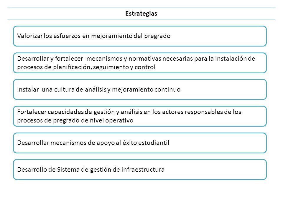 Valorizar los esfuerzos en mejoramiento del pregrado Estrategias Desarrollar y fortalecer mecanismos y normativas necesarias para la instalación de pr