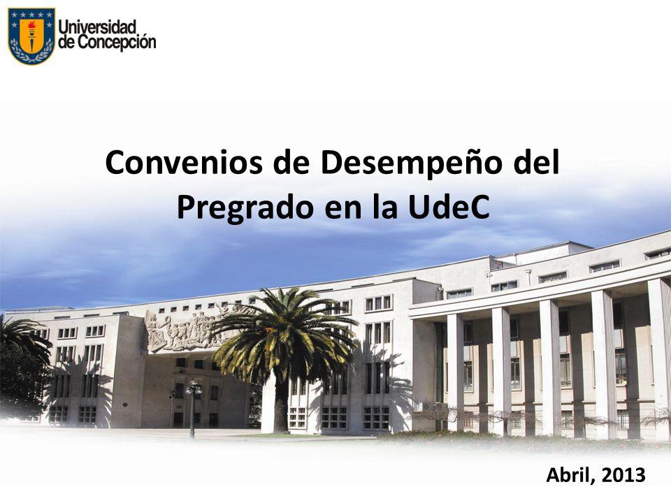 Convenios de Desempeño del Pregrado en la UdeC Abril, 2013