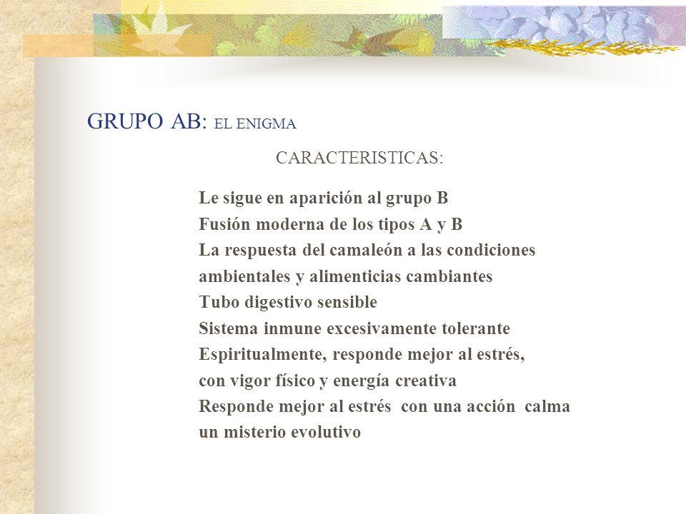 GRUPO AB: EL ENIGMA CARACTERISTICAS: Le sigue en aparición al grupo B Fusión moderna de los tipos A y B La respuesta del camaleón a las condiciones am