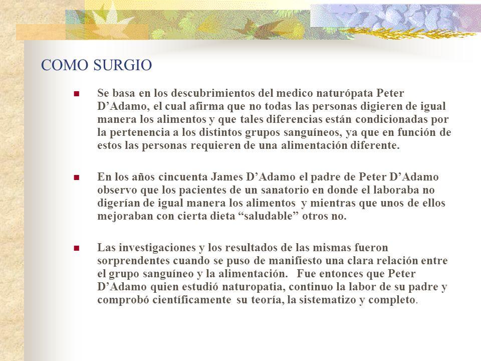 COMO SURGIO Se basa en los descubrimientos del medico naturópata Peter DAdamo, el cual afirma que no todas las personas digieren de igual manera los a