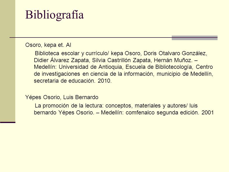 Bibliografía Osoro, kepa et.