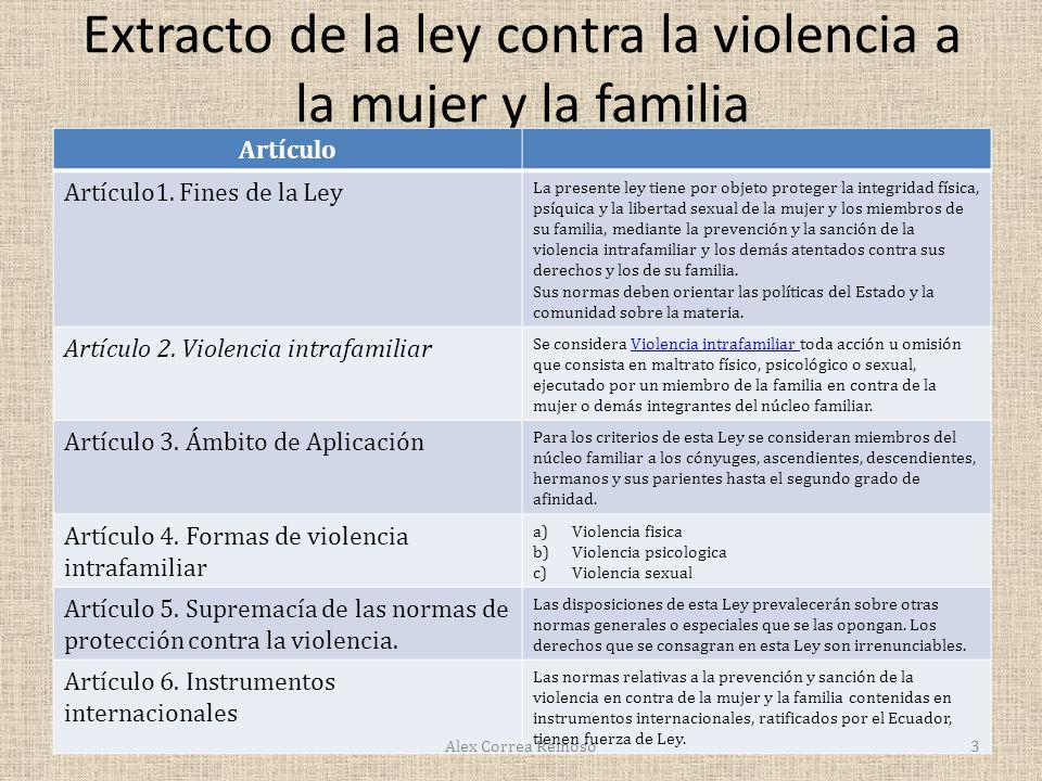 Extracto de la ley contra la violencia a la mujer y la familia Artículo Artículo1.