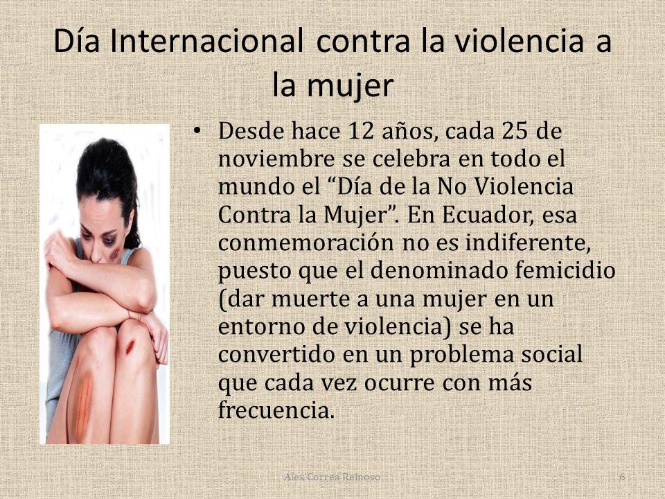 Día Internacional contra la violencia a la mujer Desde hace 12 años, cada 25 de noviembre se celebra en todo el mundo el Día de la No Violencia Contra la Mujer.