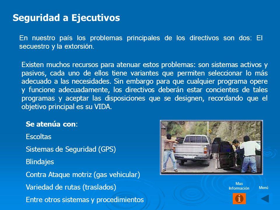 Seguridad Ejecutiva E stá dirigida al personal directivo y clave de la empresa, se basa en su protección con personal especializado conforme a las act
