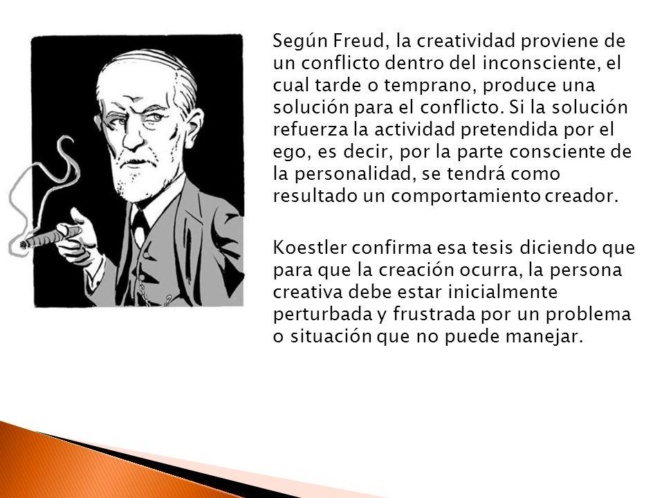 Según Freud, la creatividad proviene de un conflicto dentro del inconsciente, el cual tarde o temprano, produce una solución para el conflicto. Si la