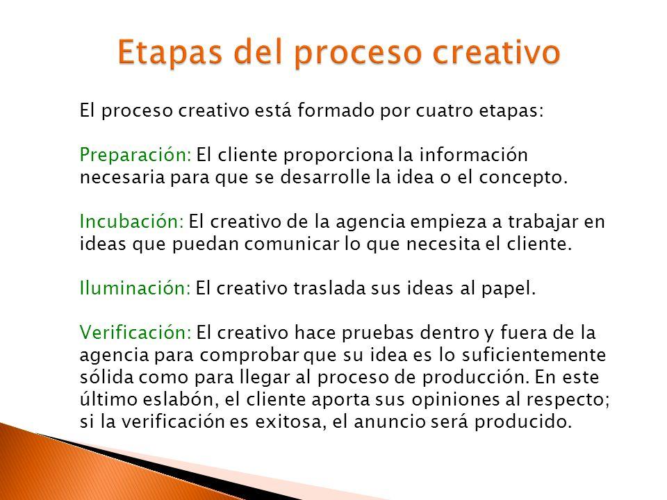 El proceso creativo está formado por cuatro etapas: Preparación: El cliente proporciona la información necesaria para que se desarrolle la idea o el c