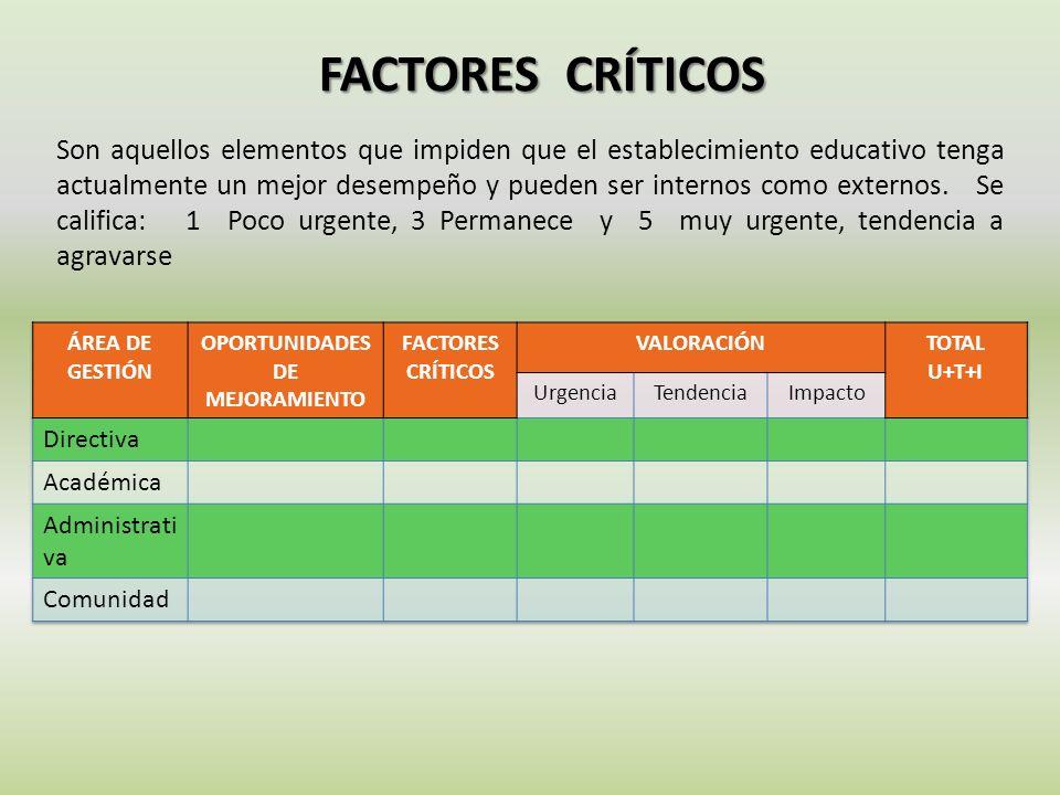FACTORES CRÍTICOS Son aquellos elementos que impiden que el establecimiento educativo tenga actualmente un mejor desempeño y pueden ser internos como