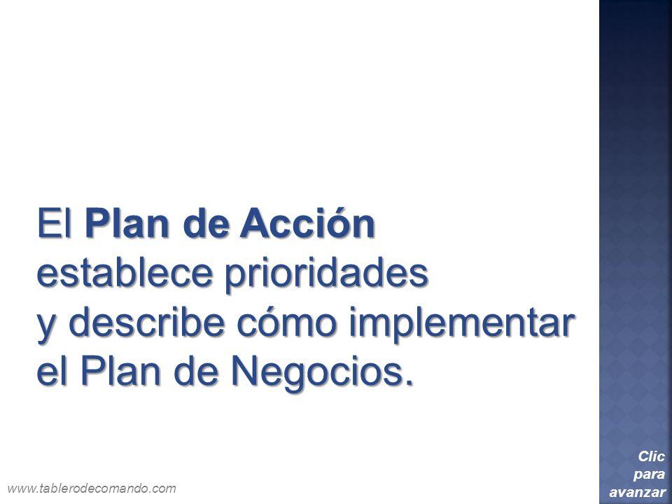 El Plan de Acción establece prioridades y describe cómo implementar el Plan de Negocios. Clic para avanzar www.tablerodecomando.com