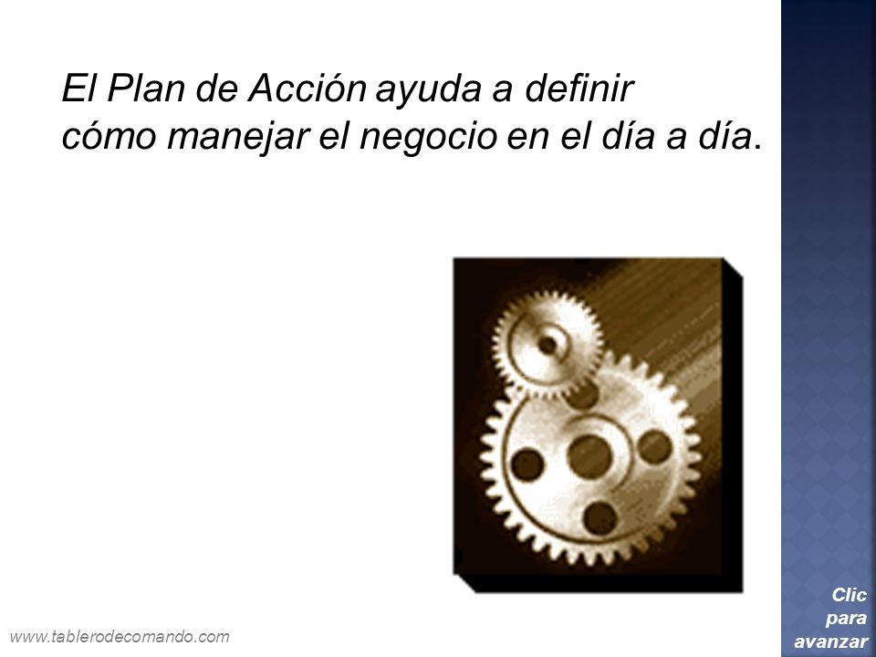 El Plan de Acción ayuda a definir cómo manejar el negocio en el día a día. Clic para avanzar www.tablerodecomando.com
