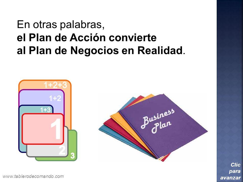 En otras palabras, el Plan de Acción convierte al Plan de Negocios en Realidad. Clic para avanzar www.tablerodecomando.com