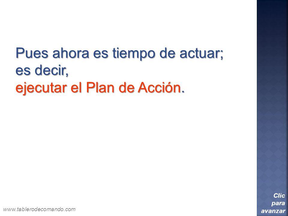 Pues ahora es tiempo de actuar; es decir, ejecutar el Plan de Acción. Clic para avanzar www.tablerodecomando.com