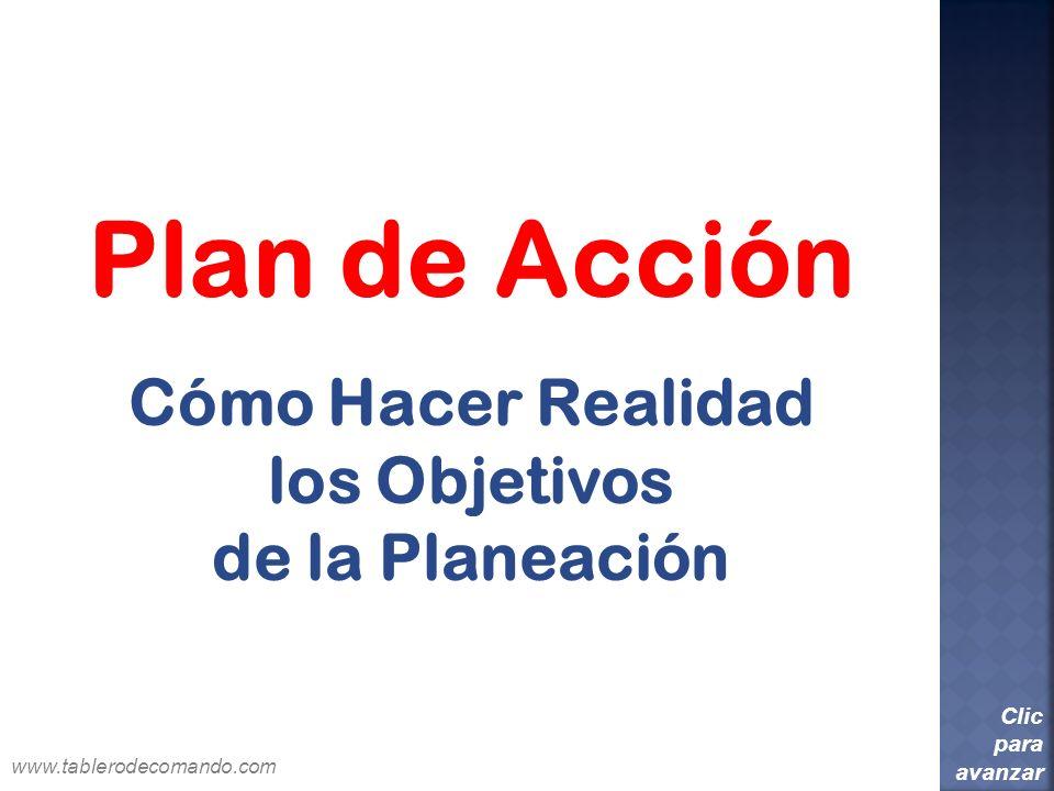 Plan de Acción Cómo Hacer Realidad los Objetivos de la Planeación Clic para avanzar www.tablerodecomando.com