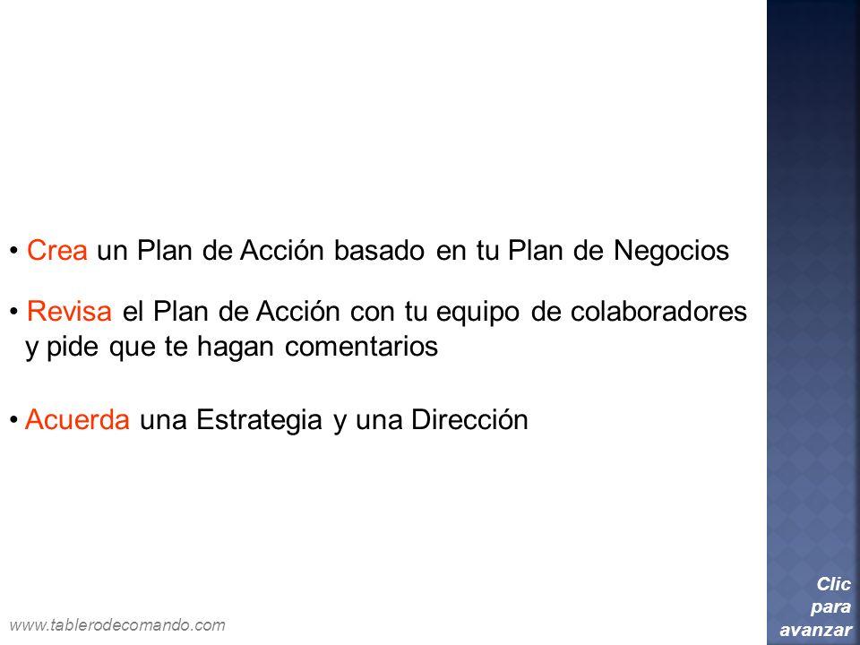 Crea un Plan de Acción basado en tu Plan de Negocios Clic para avanzar Revisa el Plan de Acción con tu equipo de colaboradores y pide que te hagan com