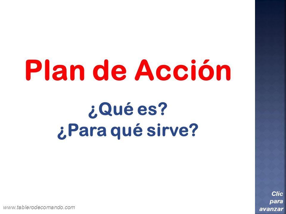 Plan de Acción ¿Qué es? ¿Para qué sirve? Clic para avanzar www.tablerodecomando.com