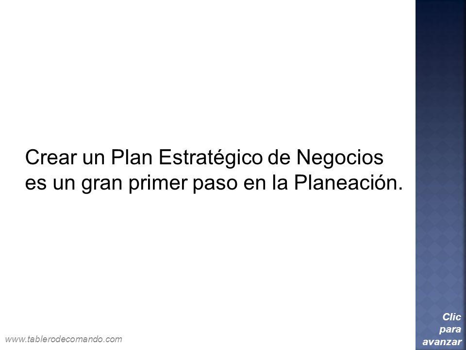Crear un Plan Estratégico de Negocios es un gran primer paso en la Planeación. Clic para avanzar www.tablerodecomando.com