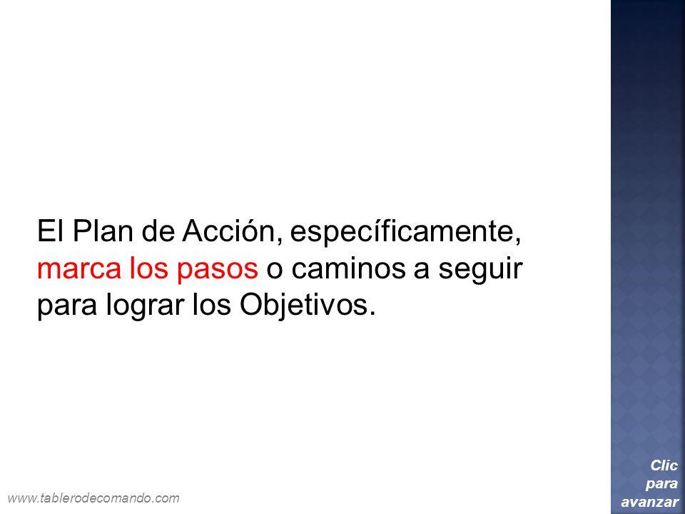 El Plan de Acción, específicamente, marca los pasos o caminos a seguir para lograr los Objetivos. Clic para avanzar www.tablerodecomando.com
