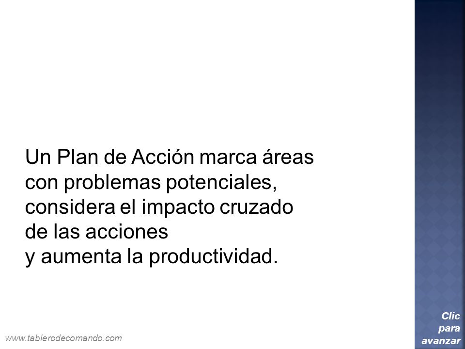 Un Plan de Acción marca áreas con problemas potenciales, considera el impacto cruzado de las acciones y aumenta la productividad. Clic para avanzar ww