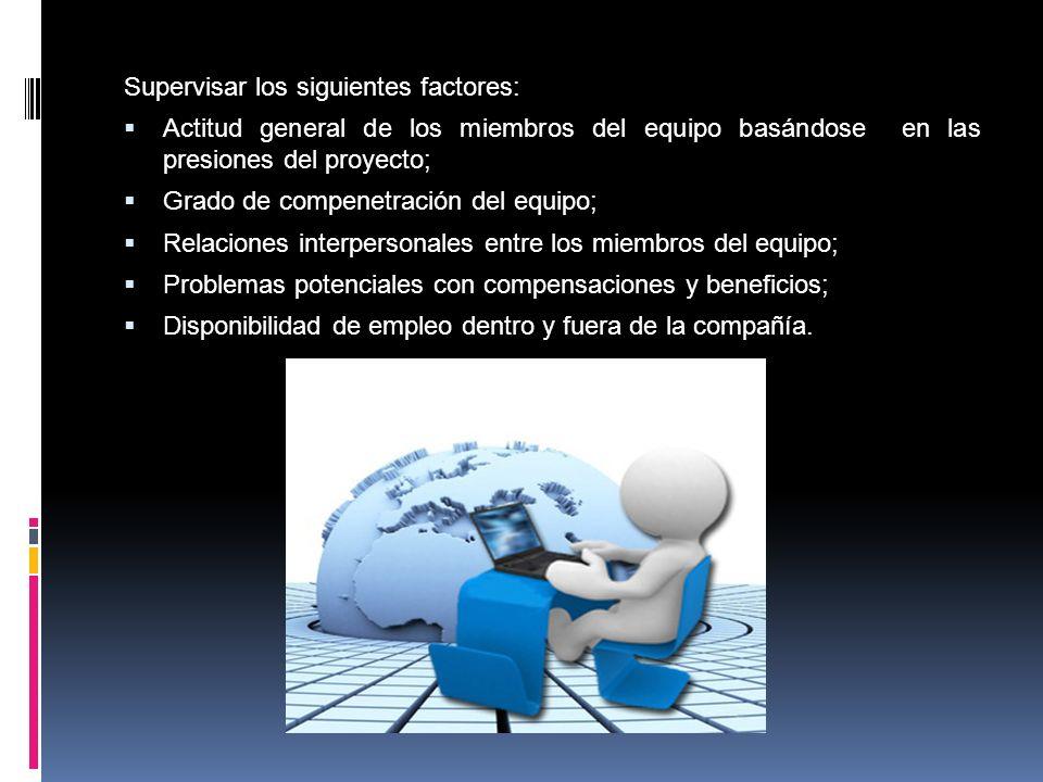 Supervisar los siguientes factores: Actitud general de los miembros del equipo basándose en las presiones del proyecto; Grado de compenetración del eq