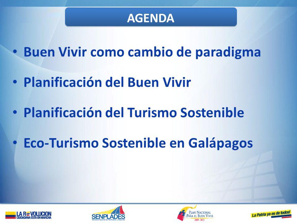 AGENDA Buen Vivir como cambio de paradigma Planificación del Buen Vivir Planificación del Turismo Sostenible Eco-Turismo Sostenible en Galápagos