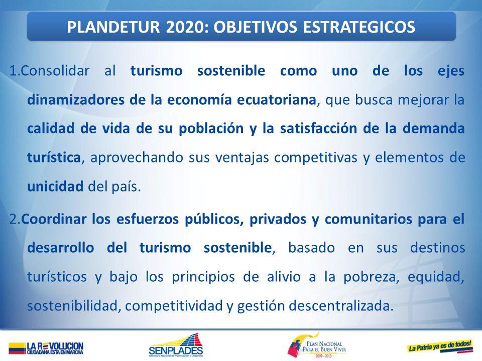 1.Consolidar al turismo sostenible como uno de los ejes dinamizadores de la economía ecuatoriana, que busca mejorar la calidad de vida de su población