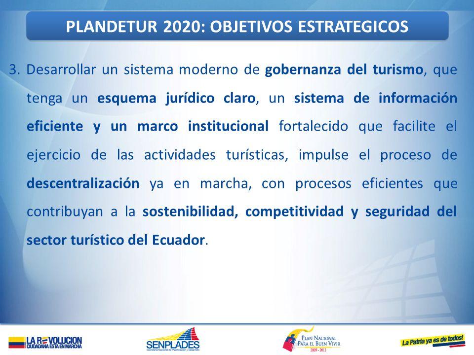 3. Desarrollar un sistema moderno de gobernanza del turismo, que tenga un esquema jurídico claro, un sistema de información eficiente y un marco insti