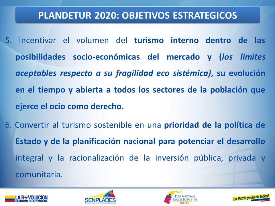 5. Incentivar el volumen del turismo interno dentro de las posibilidades socio-económicas del mercado y (los limites aceptables respecto a su fragilid