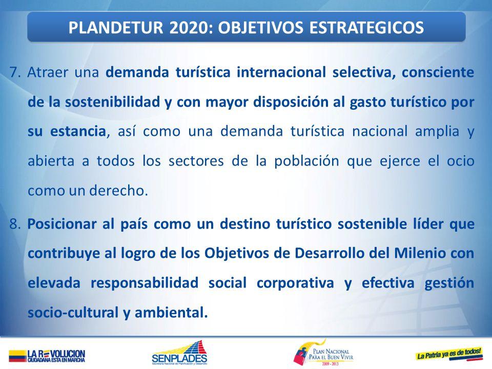 7. Atraer una demanda turística internacional selectiva, consciente de la sostenibilidad y con mayor disposición al gasto turístico por su estancia, a